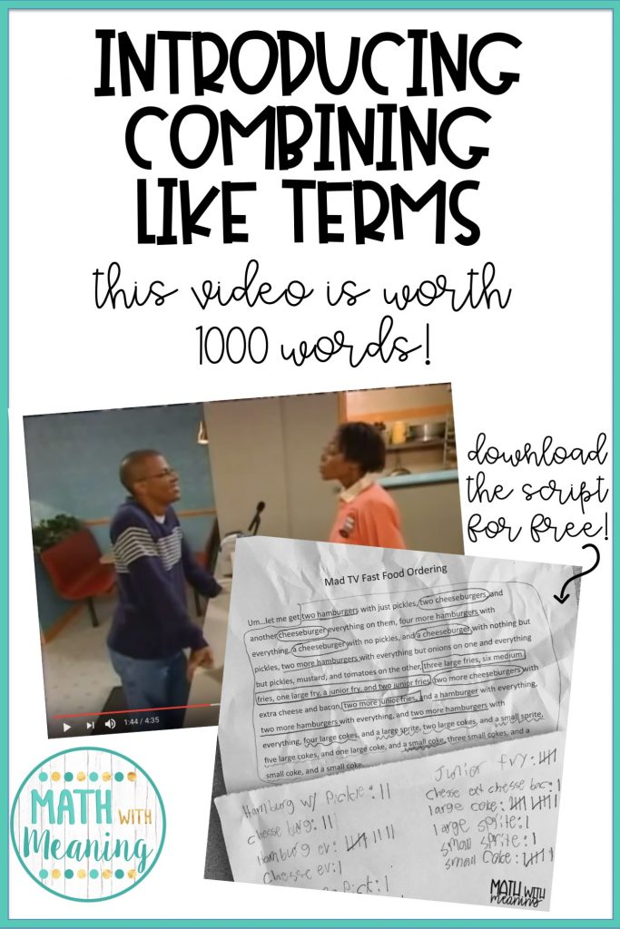 Introduce combining like terms with this video and allow students to discover the concept for themselves! You can download the script for free in the blog post.