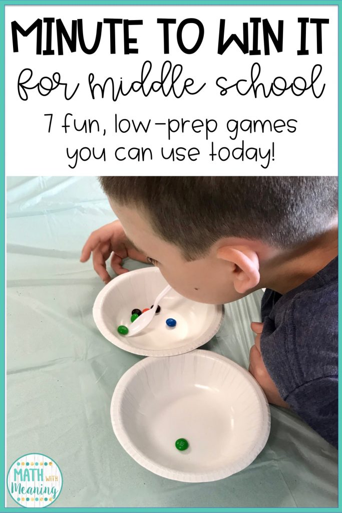 7 Low-Prep Minute to Win It games for the middle school classroom! Perfect for the end of the year!